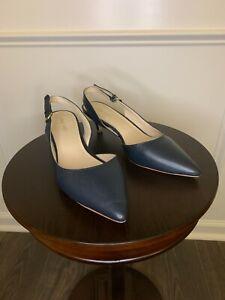 Nine West Women's Blue Leather Slingback business casual kitten heel Size 9M