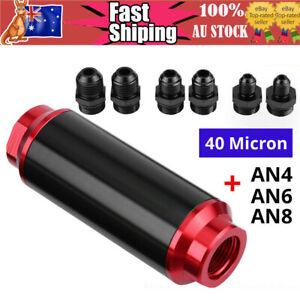 Universal Inline Fuel Filter 40 Micron + AN6 AN8 AN10 Billet Aluminium hau