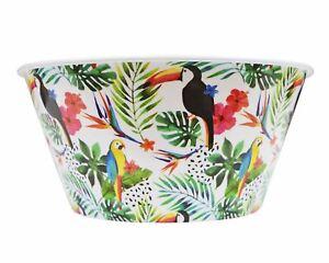 Reusable Salad Large Plastic Bowl Tropical Design Parrot Summer Party Picnic BBQ