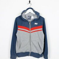 Vintage Kids NIKE Small Logo Zip Up Hoodie Sweatshirt Grey Blue | 12-13 Yrs