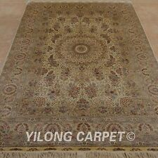 YILONG 6'x9' Medium Silk Hand Knotted Rug Washed Gold Antistatic Carpet 0973