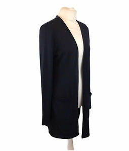 Long Tall Sally Longline Cardigan With Pockets Blue And Black Size Small