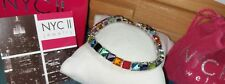 Chuck Clemency NYCII sterling silver rainbow of colors princess tennis bracelet