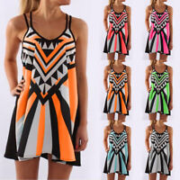 Plus Size Women Ladies Boho Sleeveless Mini Dress Summer Beach Tunic Sun Dress