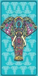 New Teal Blue Elephant Beach Bath Pool Towel Gift Elehants Herd African Boho NIP