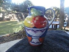 Dept. Department 56 Red Green Yellow Fruit in Footed Bowl Blue Pitcher