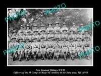 POSTCARD SIZE PHOTO NEW ZEALAND MILITARY WWII NZ REGIMENT OFFICERS FIJI c1943
