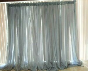 """Silver sheer drapes 6 to 12 ft x114"""" for Backdrops, wall covering, room dividers"""