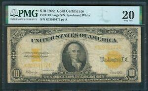 $10 Gold Certificate series 1922, PMG Very Fine 20