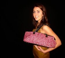 Kate Spade RARE! BARREL LONG IRISH WOOL TWEED PINK/RED PYRAMID BAG HANDBAG PURSE