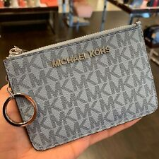 MICHAEL KORS SM COIN POUCH W/ ID KEY RING CARD HOLDER SIGNATURE PALE BLUE