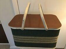 Redmon Picnic Basket Wicker Wood Woven Green with Tan Handles Redman Vintage