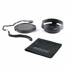 43mm Metal Vented Lens Hood shade for Leica M LM black&Lens cap&Cloth&cord