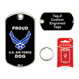 PROUD AIR FORCE DOG - CUSTOMIZED - PET TAG - MILITARY Shape - Tag-Z Dog Tags