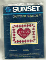 Love & Lace I Love You Heart Counted Cross Stitch KIT Sunset #987 romance