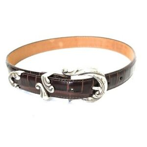 Brighton Womens Vintage Brown Leather Belt Decorative Buckle Size Small XS