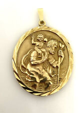 Gold St Christopher Pendant XL Solid Gold Saint Christopher 9ct Yellow Gold