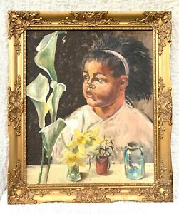 JOHN GREEN (1917-2005) LARGE SIGNED MCM BRITISH OIL - GIRL WITH LILY 1965