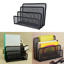 Black Mesh Letter Paper File Storage Rack Holder Tray Organiser Desktop Office0W