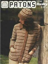 Vintage Patons Knitting Pattern No 1214 Jacket & Ha  in  Chunky Size  32 - 40 in