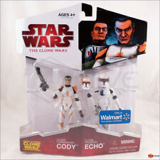 Star Wars Clone Wars Commander Cody and Clone Trooper Echo 2 pack worn packaging