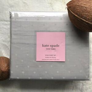 KATE SPADE 100% Cotton Larabee Dot KING Sheet Set, Polka Dot, Gray on Gray