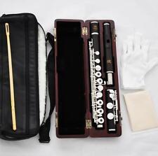 SR Grendadilla Ebony Wooden Flute Silver Keys C Foot 16 Hole Split E Wood Case