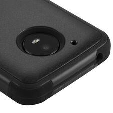 For Motorola Moto E4 - Hybrid HARD&SOFT Shockproof Armor Impact Case Cover Black