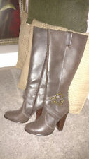 "Newport News Bark Color Zip Up Knee Hi Boots Buckle Detail 4"" Heel Size 5 1/2"