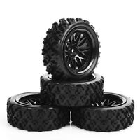 4pcs 1/10 RC Rally Racing Off Road Car Rubber Block Tyre Wheel Set 6mm Offset