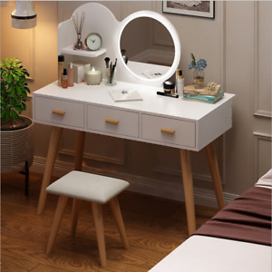 Modern Makeup Dressing Table with 3 Color led Light Round Mirror 3 Drawers Set