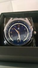 Bmw Three-Hand Blue Leather Watch Item # Bmw5002