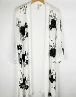 Forgotten Grace Black White Floral Embroidered Kimono Size 3X