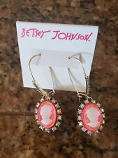 cameo drop earrings Granny Chic M509 $42 Betsey Johnson gold tone crystal &