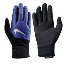 $72 NIKE MEN BLUE BLACK THERMA FIT ELITE 2.0 TOUCH ATHLETIC SPORT RUN GLOVES L