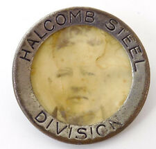 Vintage Celluloid Photos Employee Badge holcomb Steel Division Syracuse NY