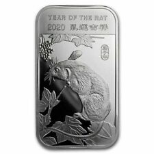 1oz. .999 PURE SILVER BAR  YEAR OF THE RAT 2020 CHINESE LUNAR CALENDAR