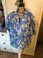 PINNETTA Ladies Vintage Blue Ditsy Floral Short Sleeve Blouse Top Size 18