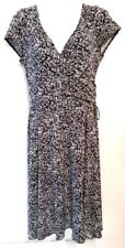 Cato womens black white short sleeve low V cut back dress size 8