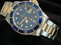 Rolex Submariner Date 18k Yellow Gold & Steel Watch Blue Dial & Bezel Sub 16613