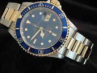 Rolex Submariner Date 18k Yellow Gold & Steel Watch Blue Dial & Bezel Sub 16613