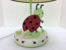 "Child's Adorable Lady Bug Bedroom Nightstand 15"" Lamp Red Green White It WORKS"
