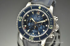 Mens Blancpain Fifty Fathoms Flyback Chronograph Blue Dial Watch 5066F-1140-52B