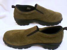 Lands End 7M Olive Green Suede Slip On Walking Shoes Clogs Womens Mocs  73773