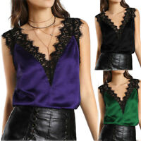 Women Ladies Lace Vest Top Sleeveless Casual Tank Blouse Summer Tops T-Shirt UK