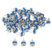 50pcs 10 Values Linear Trim Potentiometer Variable Resistor 100 Ω-1 MΩ