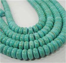 "Blue 5x8mm Turkey Turquoise Abacus Loose Beads GEMSTONE 15"""