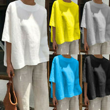 Womens Casual T-Shirts Blouse Cotton Linen Baggy Tops Summer Loose Short Sleeve