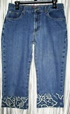 NEW  **ZENA**  Cotton Blue Denim, Med.Wash, Decorated Cuff, Capri Jeans, 10 R