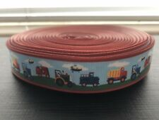 """1m Farm Tractor Truck Helicopter 7/8"""" Grosgrain Ribbon, Cake, Hair, Bow, Craft"""